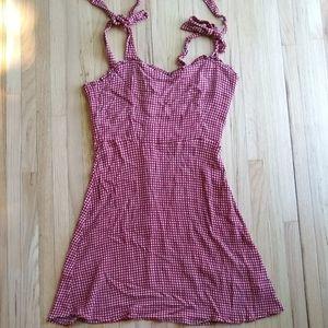 Carly Jean Los Angeles Red Gingham Mini Dress, L